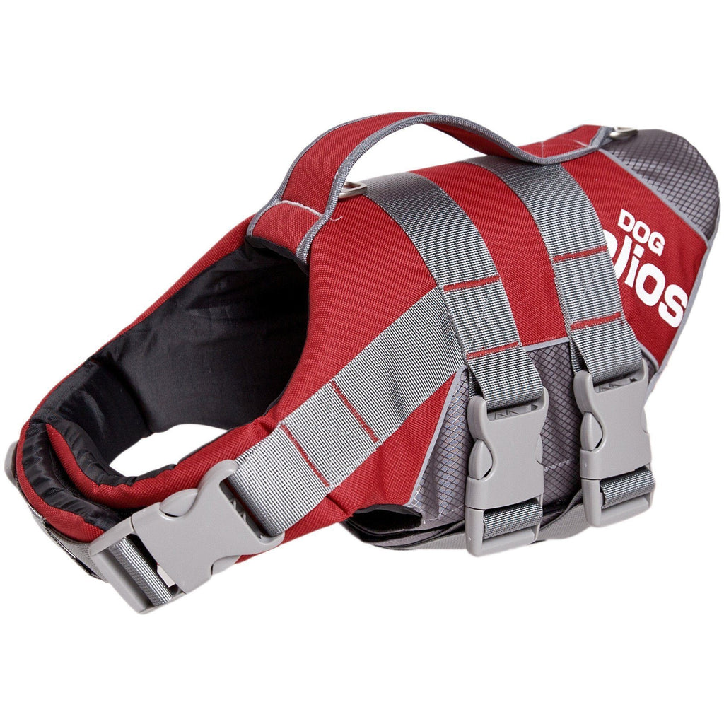 Dog Helios ® 'Splash-Explore' Outdoor Performance 3M Reflective and Adjustable Buoyant Safety Floating Pet Dog Life Jacket Vest Harness Small Red