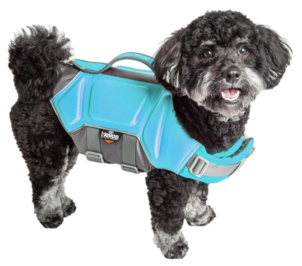 Dog Helios ® 'Tidal Guard' Multi-Point Strategically-Stitched Reflective Pet Dog Life Jacket Vest Small Light Blue