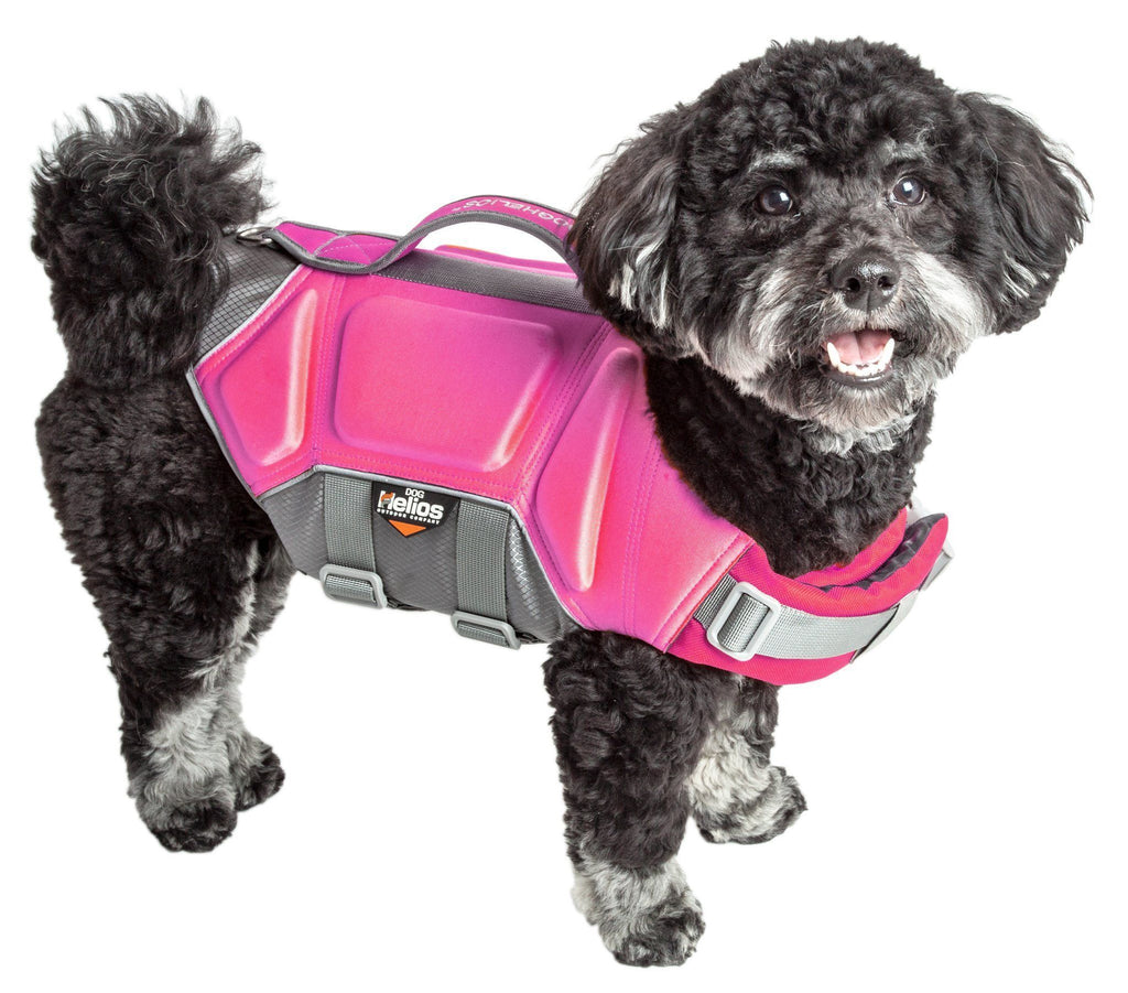 Dog Helios ® 'Tidal Guard' Multi-Point Strategically-Stitched Reflective Pet Dog Life Jacket Vest Small Pink