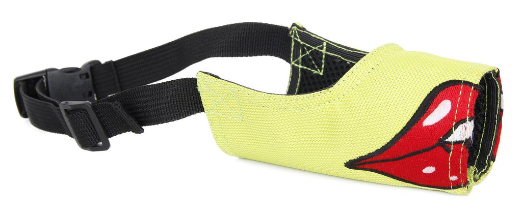 Pet Life ® 'Funimation' Animated Nylon Mesh Protective Fashion Designer Anti-Bark Pet Dog Muzzle Small Green / Red