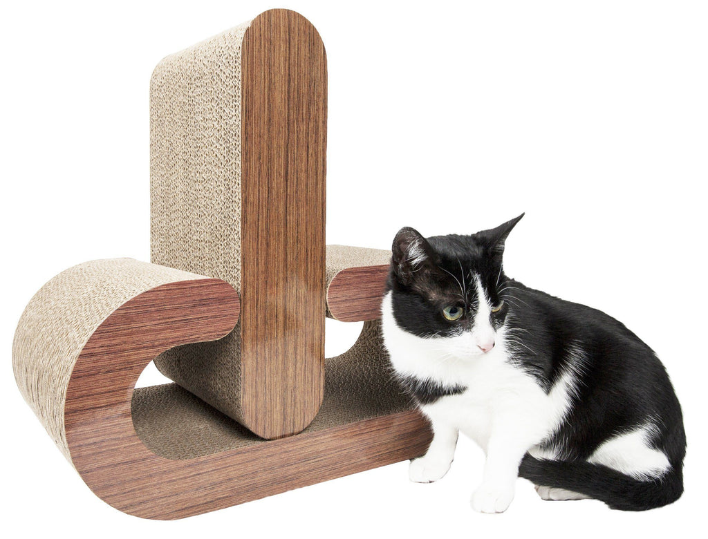 Pet Life ® 2-In-1 'Pill Shaped' Premium Quality Modular Kitty Cat Scratcher Lounger Lounge with Catnip