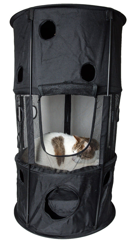 Pet Life ® 'Climber-Tree' Play-Active Travel Collapsible Lightweight Kitty Cat Tree House Lounger Black