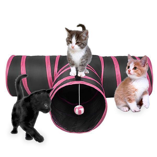 Pet Life ® 'Kitting-Go-Seek' Collapsible Folding Travel 3-way Kitty Cat Tunnel with Built-In Teaser Ball