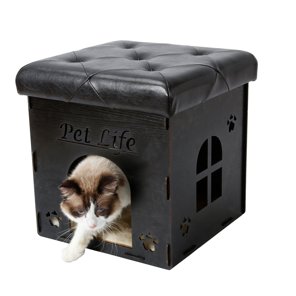 Pet Life ® 'Kitty Kallapse' Collapsible Folding Kitty Cat House Tree Bed Ottoman Bench Furniture Black