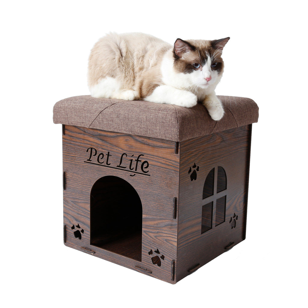 Pet Life ® 'Kitty Kallapse' Collapsible Folding Kitty Cat House Tree Bed Ottoman Bench Furniture Dark Wood
