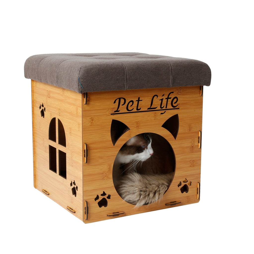 Pet Life ® 'Kitty Kallapse' Collapsible Folding Kitty Cat House Tree Bed Ottoman Bench Furniture Light Wood