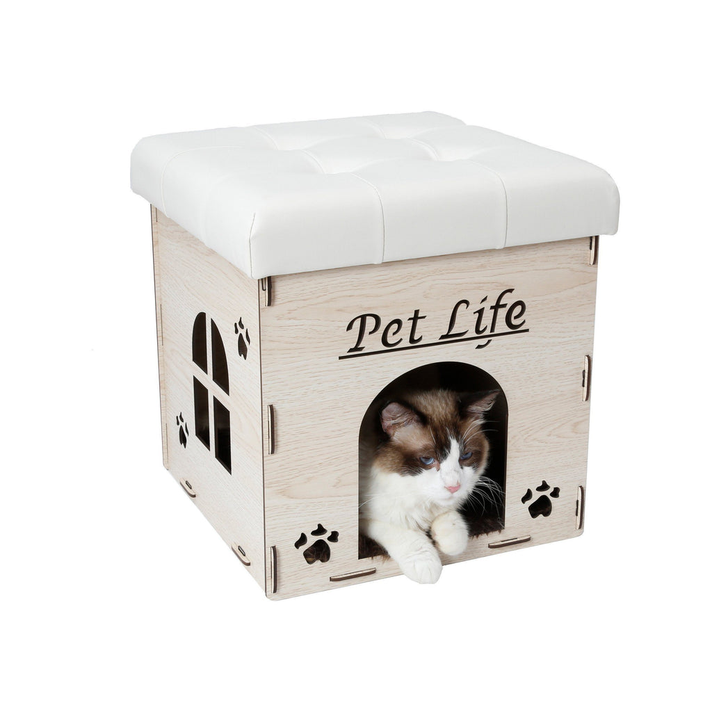 Pet Life ® 'Kitty Kallapse' Collapsible Folding Kitty Cat House Tree Bed Ottoman Bench Furniture White