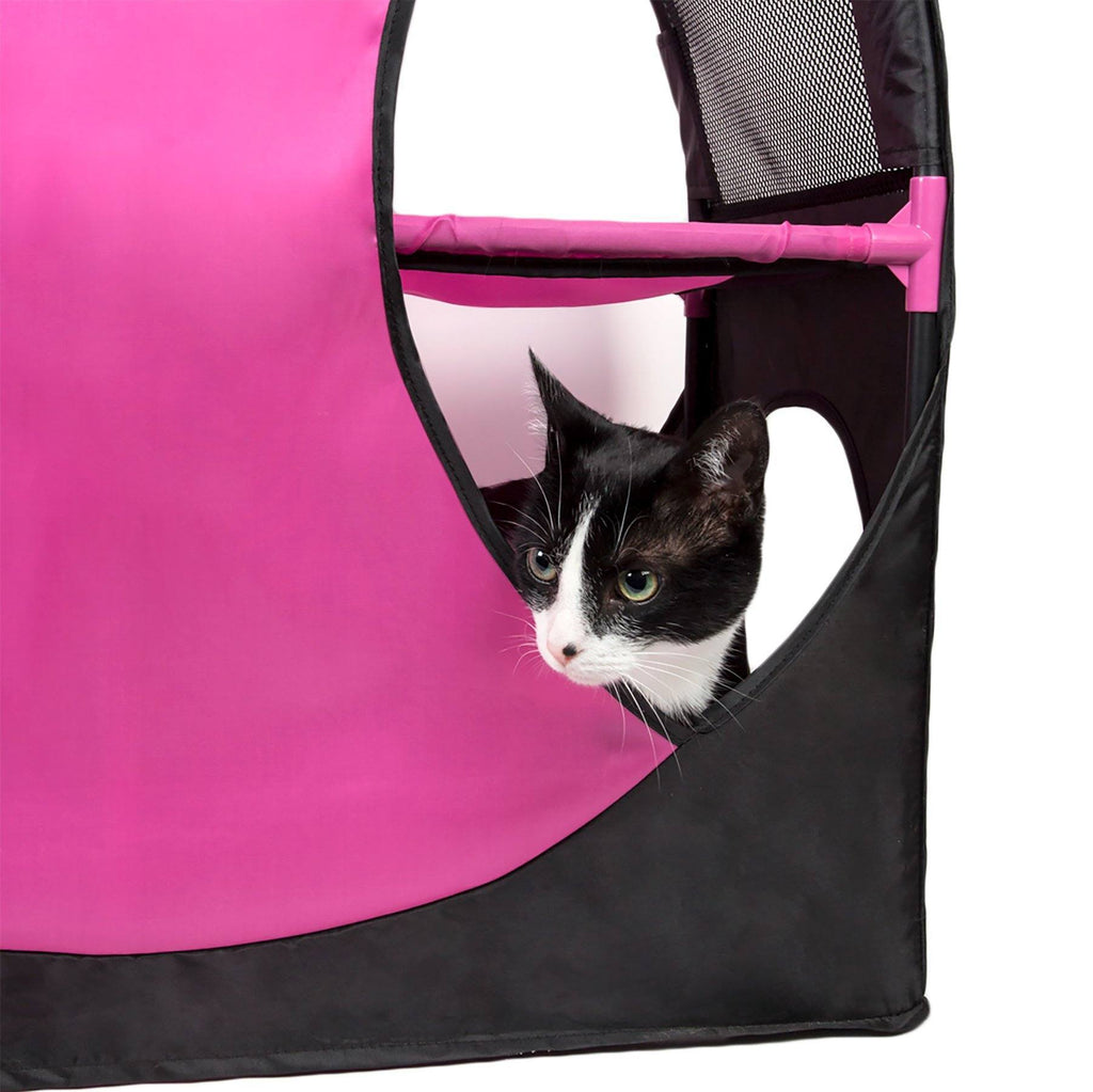 Pet Life ® 'Kitty-Play' Collapsible Travel Interactive Kitty Cat Tree Maze House Lounger Tunnel Lounge