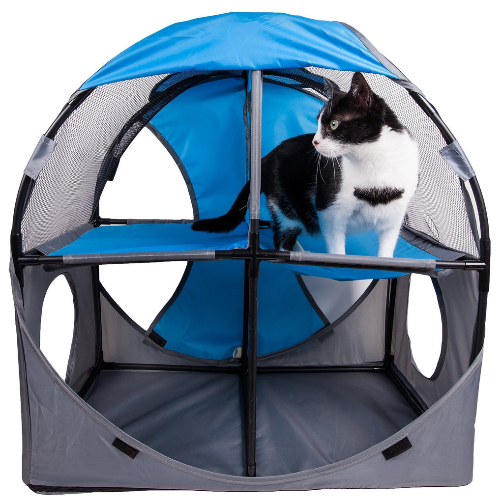 Pet Life ® 'Kitty-Play' Collapsible Travel Interactive Kitty Cat Tree Maze House Lounger Tunnel Lounge Blue, Grey