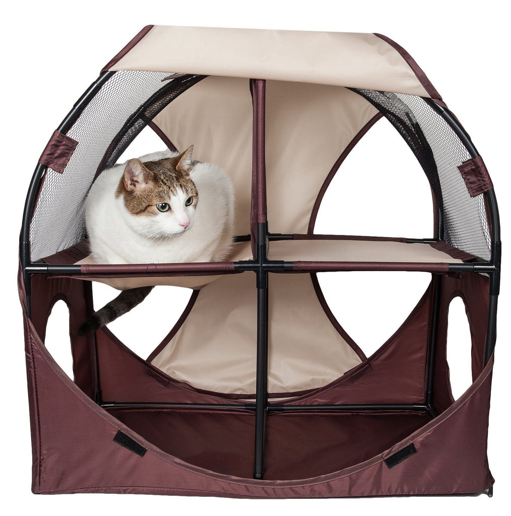 Pet Life ® 'Kitty-Play' Collapsible Travel Interactive Kitty Cat Tree Maze House Lounger Tunnel Lounge Khaki, Brown