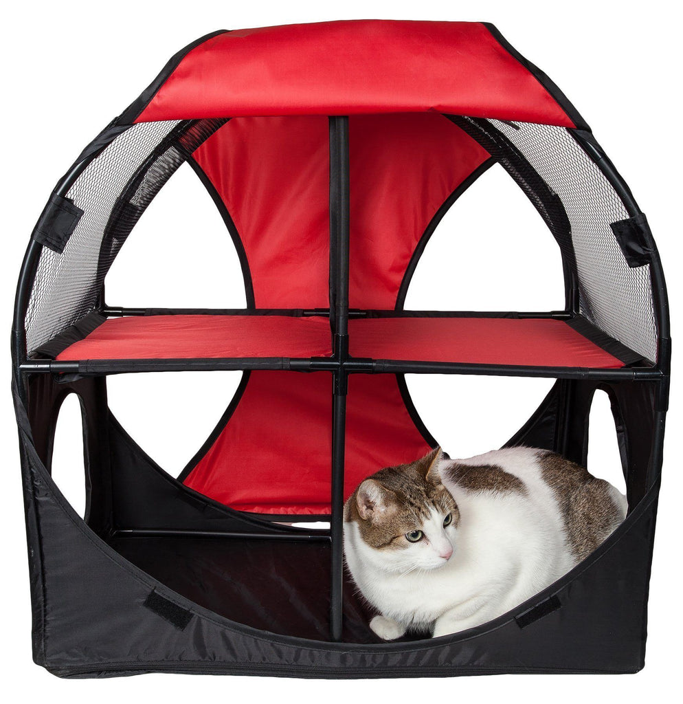 Pet Life ® 'Kitty-Play' Collapsible Travel Interactive Kitty Cat Tree Maze House Lounger Tunnel Lounge Red, Black