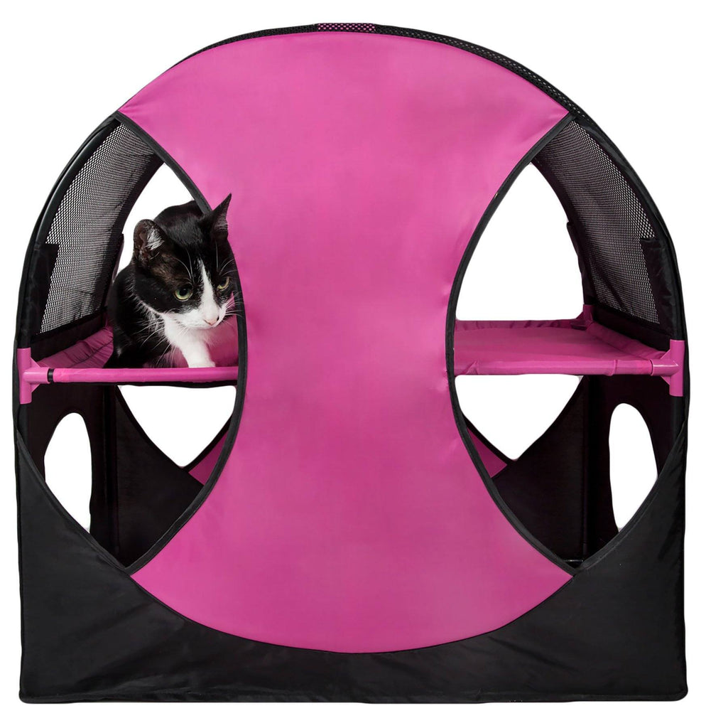 Pet Life ® 'Kitty-Play' Collapsible Travel Interactive Kitty Cat Tree Maze House Lounger Tunnel Lounge Pink, Black