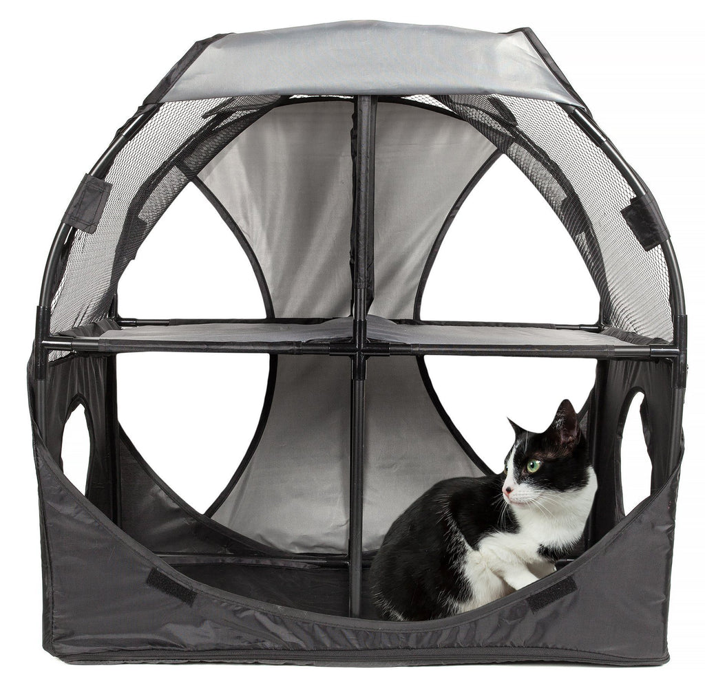 Pet Life ® 'Kitty-Play' Collapsible Travel Interactive Kitty Cat Tree Maze House Lounger Tunnel Lounge Grey, Black