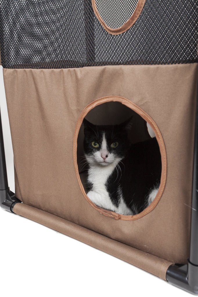 Pet Life ® 'Kitty-Square' Collapsible Travel Interactive Kitty Cat Tree Maze House Lounger Tunnel Lounge