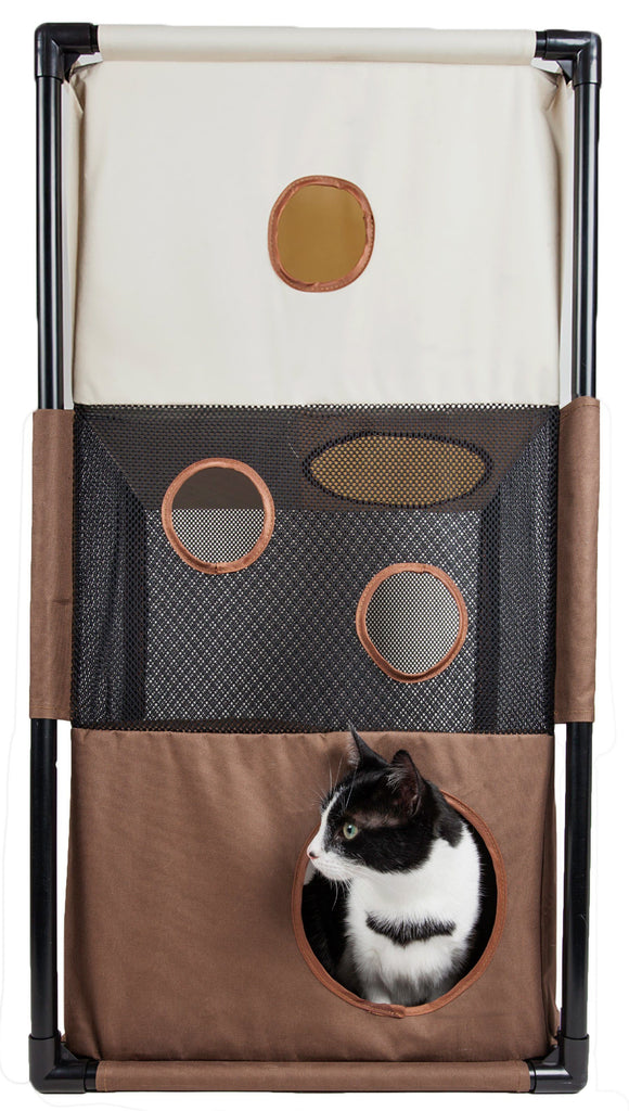 Pet Life ® 'Kitty-Square' Collapsible Travel Interactive Kitty Cat Tree Maze House Lounger Tunnel Lounge Khaki, Brown
