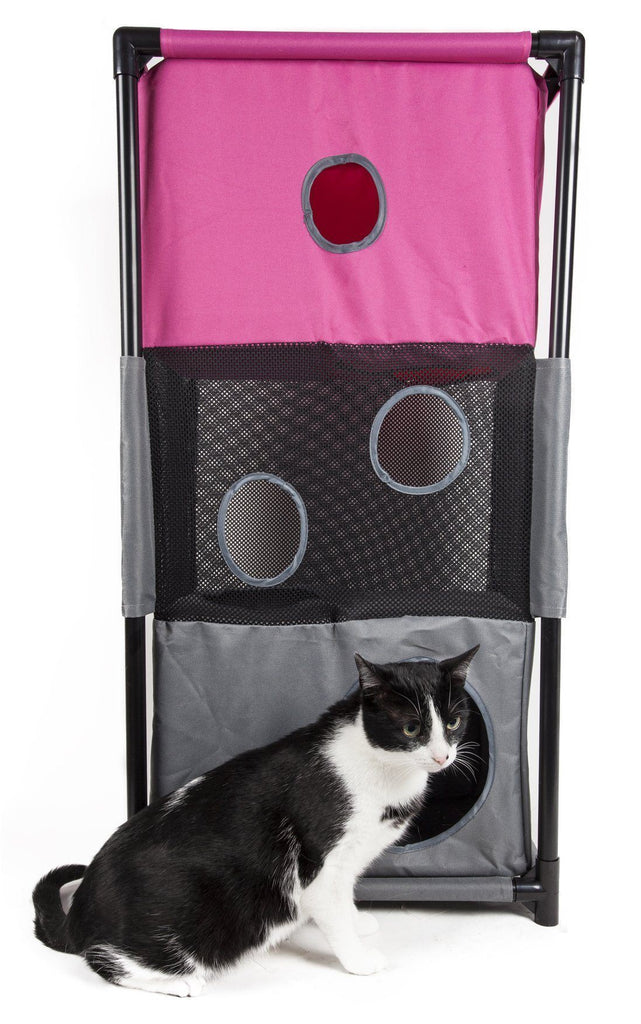 Pet Life ® 'Kitty-Square' Collapsible Travel Interactive Kitty Cat Tree Maze House Lounger Tunnel Lounge Pink, Grey
