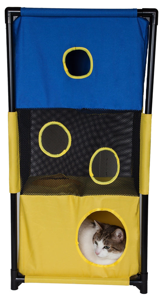 Pet Life ® 'Kitty-Square' Collapsible Travel Interactive Kitty Cat Tree Maze House Lounger Tunnel Lounge Blue, Yellow
