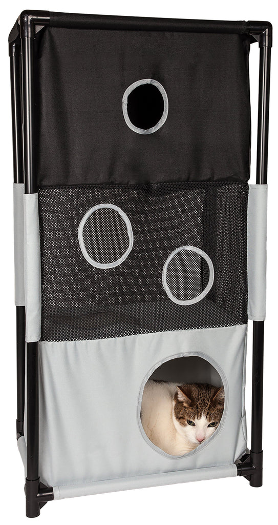 Pet Life ® 'Kitty-Square' Collapsible Travel Interactive Kitty Cat Tree Maze House Lounger Tunnel Lounge Black, White