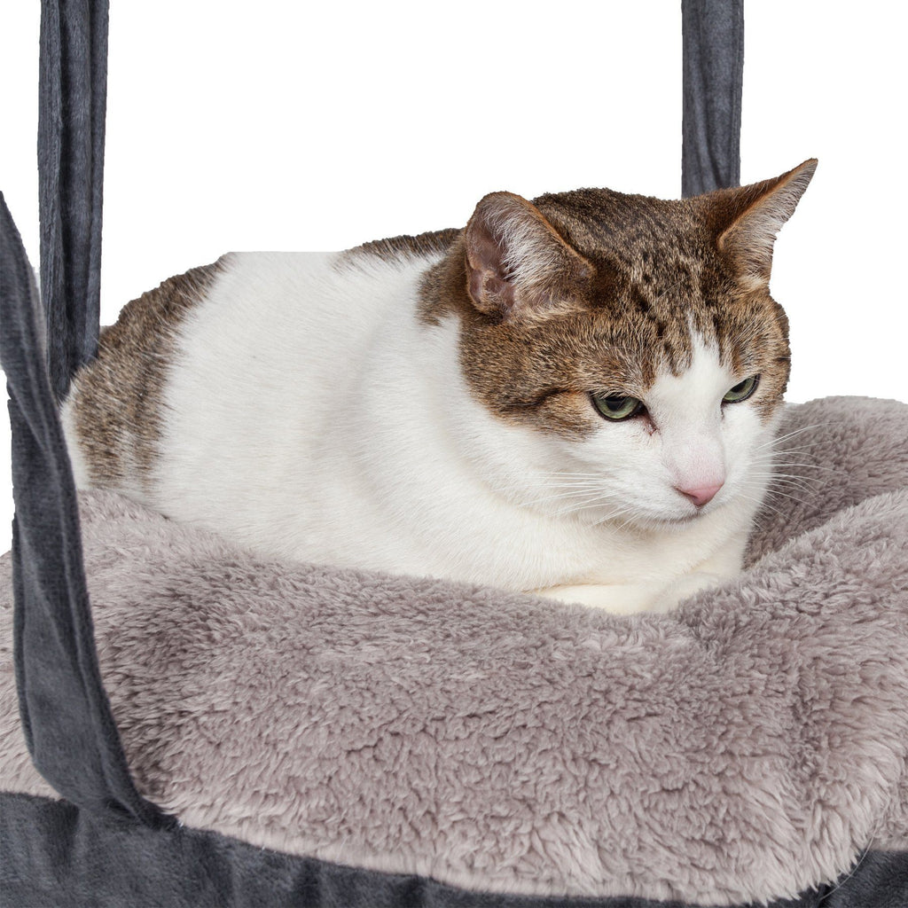 Pet Life ® 'Kittyhaus' Dual-Lounge Hanging Relaxing Kitty Cat Pillow Bed Hammock Lounger Grey