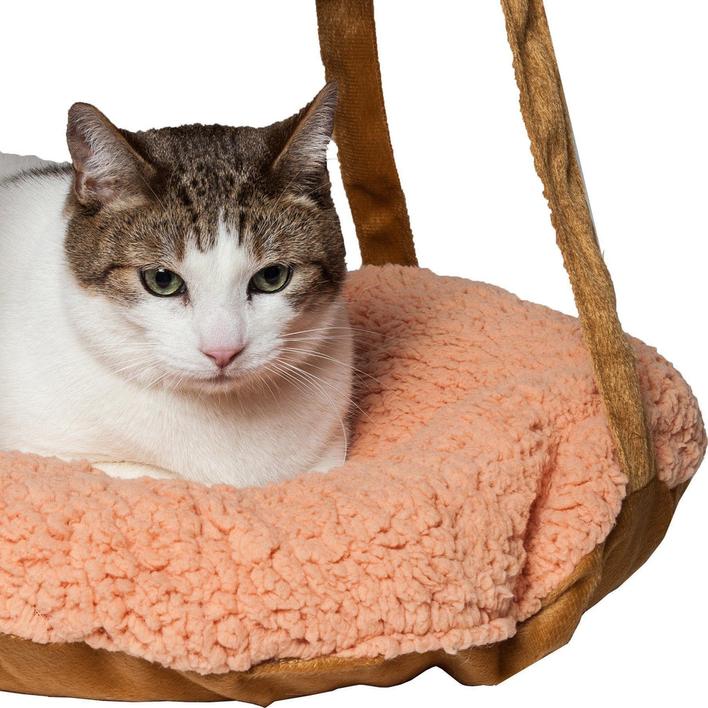 Pet Life ® 'Kittyhaus' Dual-Lounge Hanging Relaxing Kitty Cat Pillow Bed Hammock Lounger Brown
