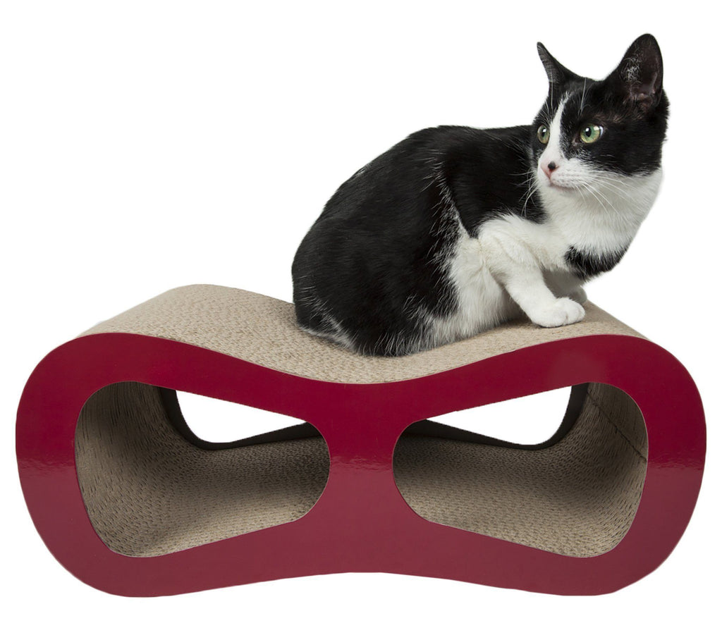 Pet Life ® 'Modiche' Premium Quality Modern Designer Kitty Cat Scratcher Lounger Lounge with Catnip