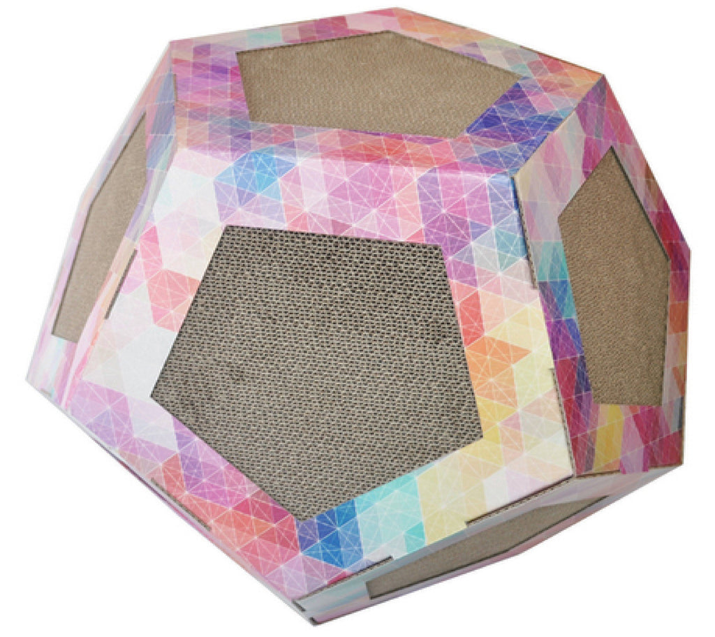 Pet Life ® 'Octagon Puzzle' Designer Premium Quality Kitty Cat Scratcher Lounge Toy & House with Catnip Default Title