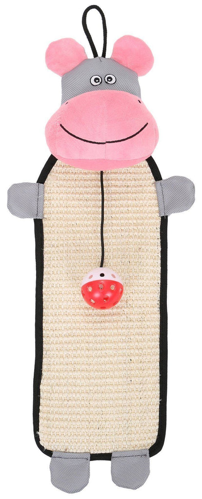 Pet Life ® 'Paw-Pleasant' Hanging Sisal & Jute Carpet Kitty Cat Scratcher with Toy Pink / Grey