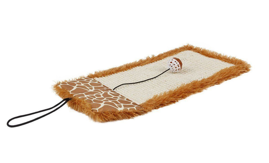 Pet Life ® 'Scrape-Away' Hanging Sisal & Jute Carpet Kitty Cat Scratcher with Toy Brown