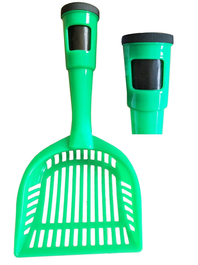Pet Life ® 'Poopin-Scoopin' Dog and Cat Kitty Litter Waste Pooper Scooper Shovel w/ Built-in Waste Bag Holder Green