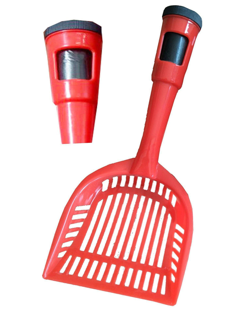 Pet Life ® 'Poopin-Scoopin' Dog and Cat Kitty Litter Waste Pooper Scooper Shovel w/ Built-in Waste Bag Holder Red