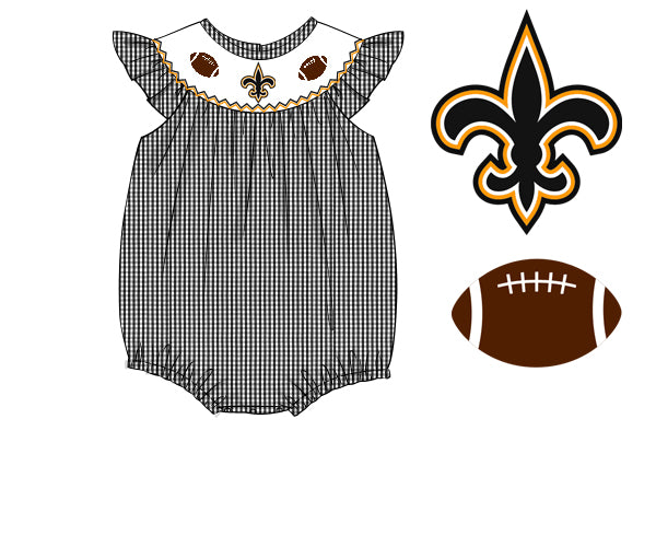 Smocked New Orleans Saints Inspired Bubble Size 3
