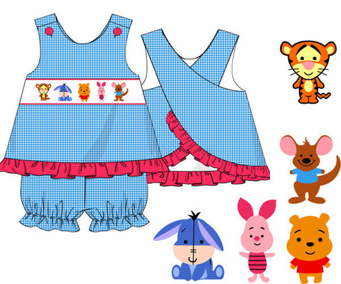 Winnie the Pooh Inspired Smocked Girl's Bloomer Set