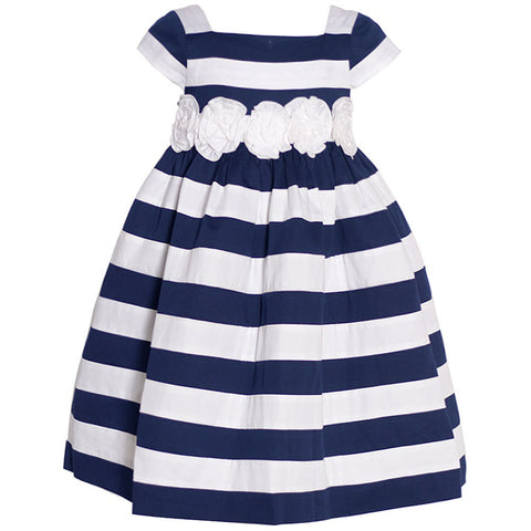 Biscotti Navy White Stripe Roses Adorned Sailor Dress