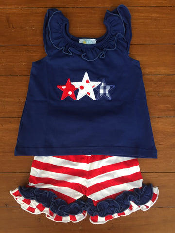 July 4th Knit Girl's Short Set