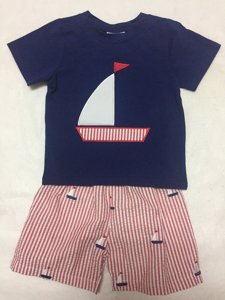 Embroidered Sailboats Boy's Appliqued Shorts Set