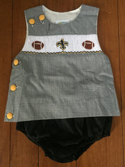 Smocked New Orleans Saints Inspired Diaper Sets