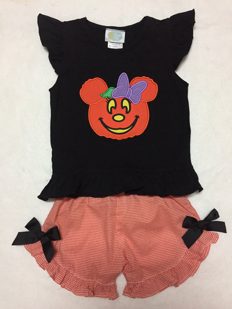 Minnie Inspired Halloween Girl's Shorts Set