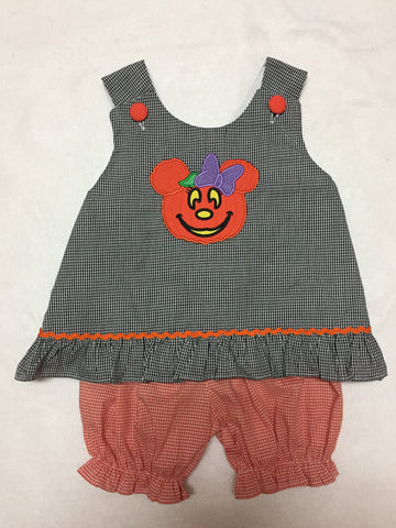 *Minnie Inspired Halloween Girl's Appliqued Bloomer Set