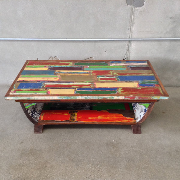 Coffee Table Made of Reclaimed Wood from a Boat