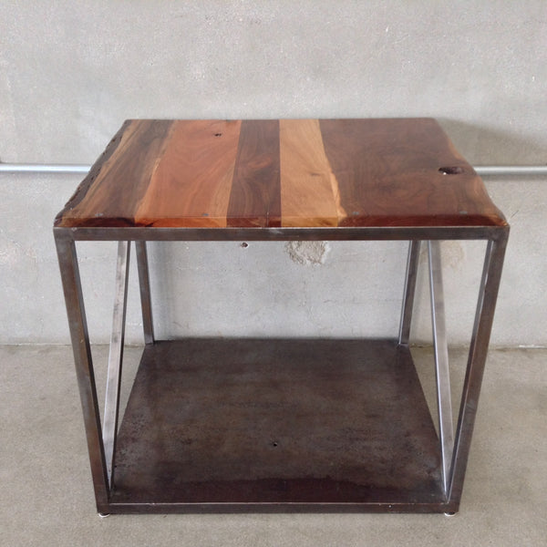 Metal Framed Table with Mixed Hardwoods