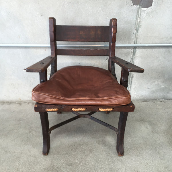 Monterey Side Chair with Rope Bottom and Iron Stretchers