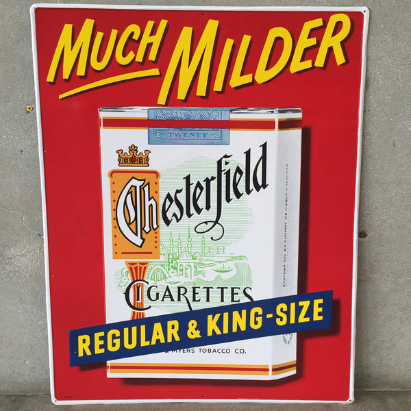 "1948 N.O.S Chesterfield ""Much Milder"" Cigarette Sign"