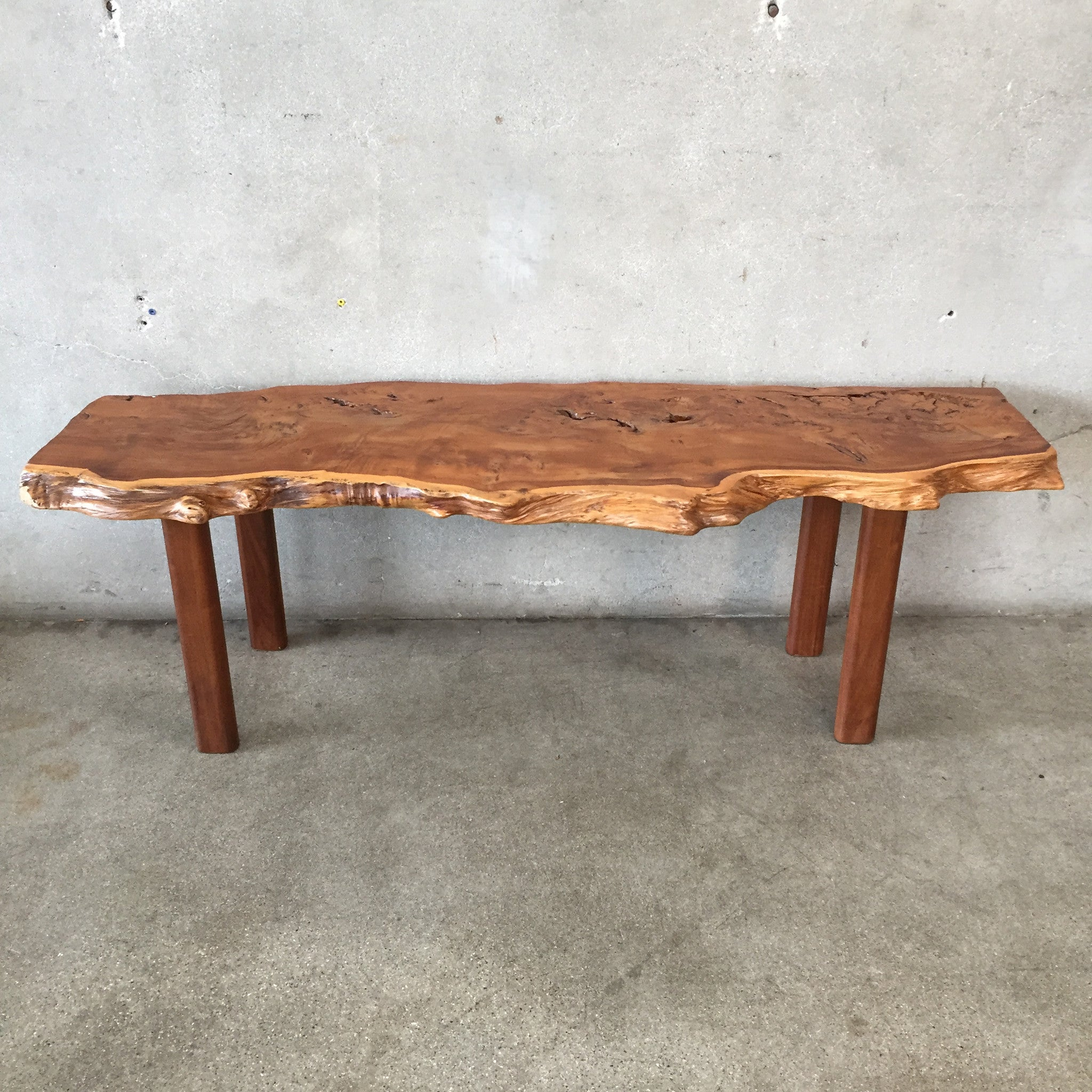 Yew wood live edge slab coffee table urbanamericana Live wood coffee table