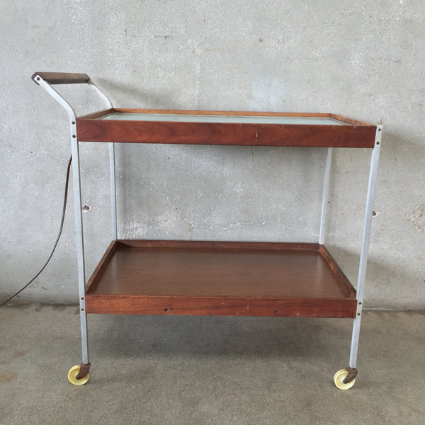 Mid Century Salton Bar Cart with Heat Tray