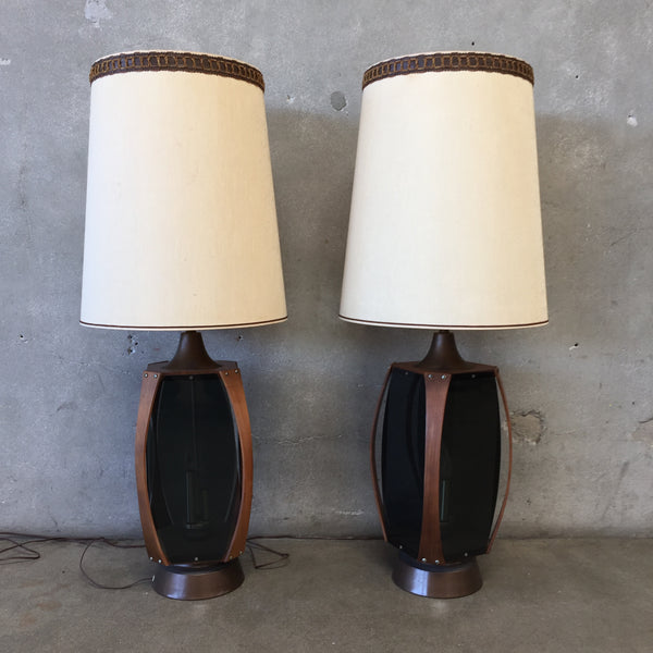 Pair of Mid Century Walnut Lamps