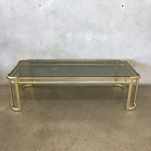 1970's Morex Gold Metal with Smoked Glass Coffee Table Italy