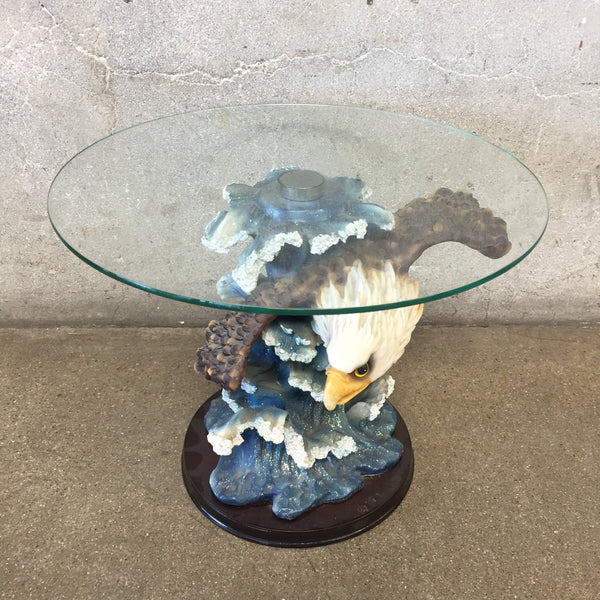 Mini Glass Table With Eagle Accent