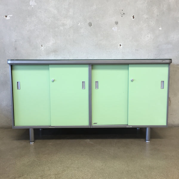 Vintage  Mint Green Credenza Metal by Steelcase