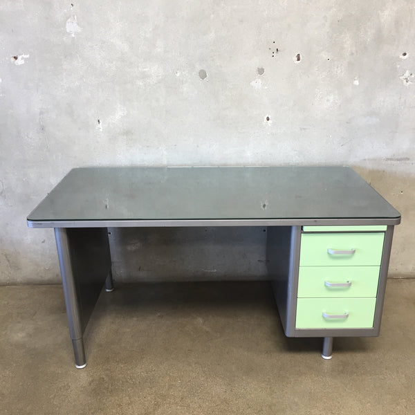 Vintage Mint Green Metal Tanker Desk by Steelcase