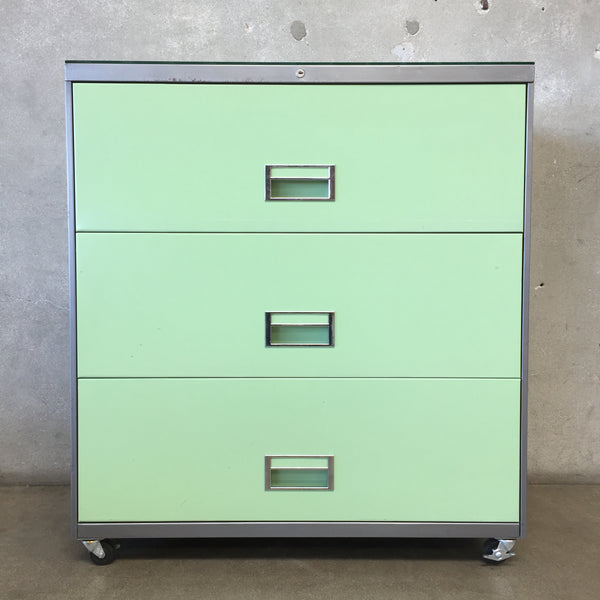 Vintage Mint Green Metal File Cabinet by Steelcase